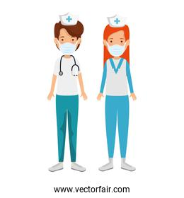 group nurse professionals using face mask isolated icon