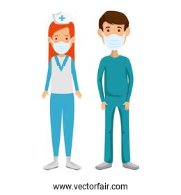 male paramedic with nurse using face mask