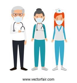 staff medical using face mask isolated icon