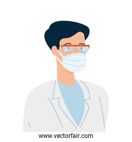 doctor male using face mask with goggles