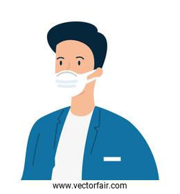 doctor male using face mask icon isolated