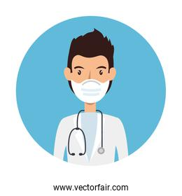 doctor using face mask with stethoscope in frame circular
