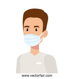 male paramedic using face mask isolated icon