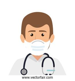 doctor male using face mask with stethoscope