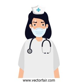 nurse tired using face mask with stethoscope