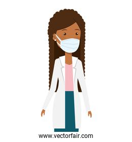 doctor female afro using face mask isolated design