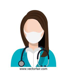 doctor female using face mask with stethoscope