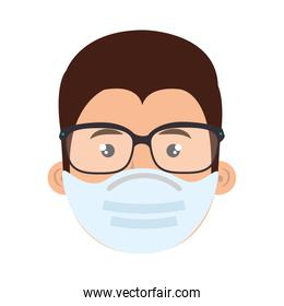 face of man using face mask with eyeglasses
