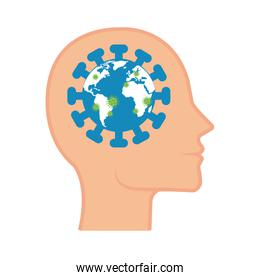 world planet with particles covid 19 in head profile