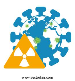 world planet with particles covid 19 and nuclear caution signal