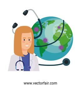 isolated female  doctor and world planet with particles covid 19