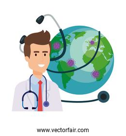 doctor and world planet with particles covid 19