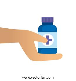 hand with bottle of capsules medicine isolated icon