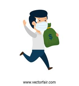 businessman running using face mask with money bag