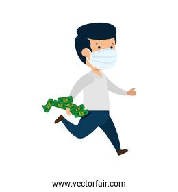 businessman running using face mask with bills cash