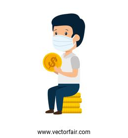 businessman using face mask sitting in pile coins