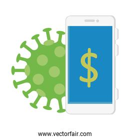 smartphone with symbol dollar and particle covid 19