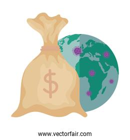 money bag with world planet and particles covid 19