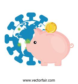 world planet with particles covid 19 and piggy bank