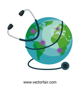world planet with particles covid 19 and stethoscope