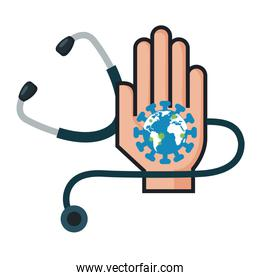 world planet with particles covid 19 in hand and stethoscope