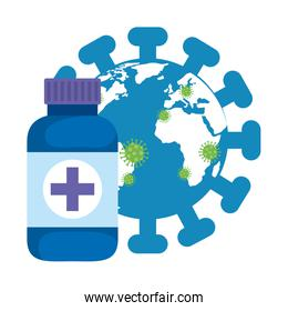 world planet with particles covid 19 and bottle medicine