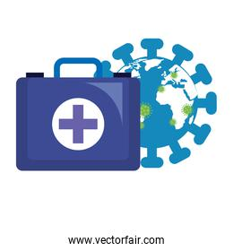 world planet with particles covid 19 and first aid kit