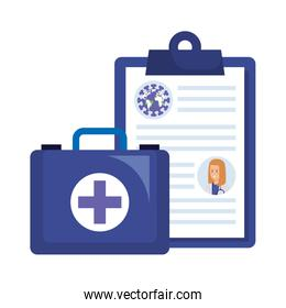 world planet with particles covid 19 in clipboard and first aid kit