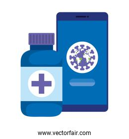 world planet with particles covid 19 in smartphone and bottle medicine