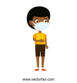 cute boy afro using face mask isolated icon