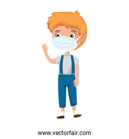 cute boy using face mask waving isolated icon