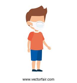 cute boy using face mask isolated icon