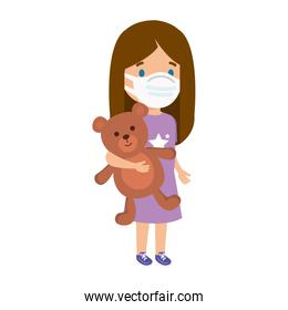 cute girl using face mask with teddy bear isolated icon
