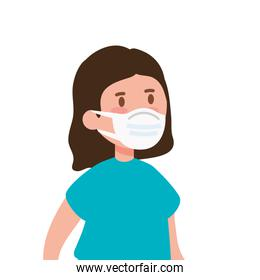girl using face mask isolated icon