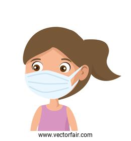 cute girl using face mask isolated icon