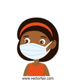 cute girl afro using face mask isolated icon