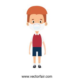 cute boy student using face mask isolated icon