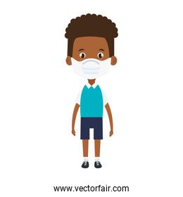 cute boy afro student using face mask isolated icon
