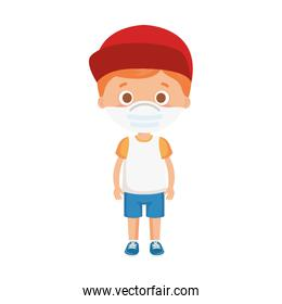 cute boy using face mask with cap isolated icon