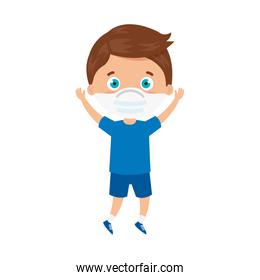 cute boy using face mask with hands up celebrating