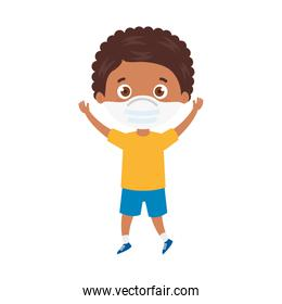 cute boy afro using face mask with hands up