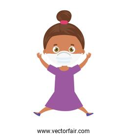 cute girl afro using face mask with hands up isolated icon