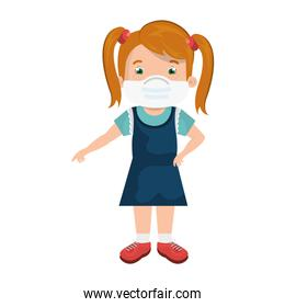 cute girl student using face mask isolated icon