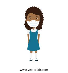 cute girl student afro using face mask isolated icon