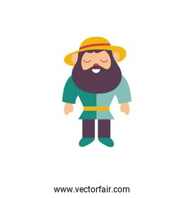 cute gnome fairytale character isolated icon