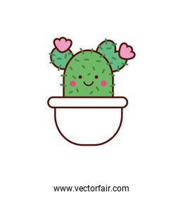 cute cactus plant in pot kawaii character icon