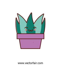 cute house plant in pot kawaii character icon
