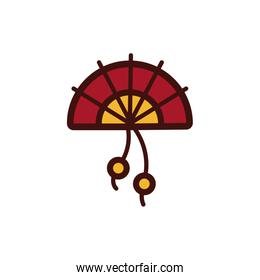chinesse fan decoration new year isolated icon