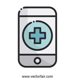 smartphone assistance app health care equipment medical line and fill icon