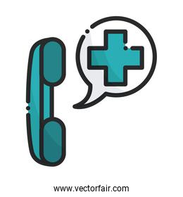 telephone help line health care equipment medical line and fill icon